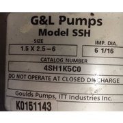 Used 7.5 HP Goulds 316 Stainless Steel Centrifugal Pump 1.5X2.5-6 SSH 4SH1K5CO