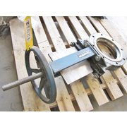 "USED 8"" DEZURIK STAINLESS STEEL MANUAL KNIFE GATE VALVE"