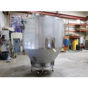 "Used 160 Cubic Foot 78"" dia Stainless Steel Hopper w/ vibrating Bin Activator"