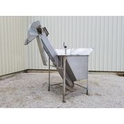 "Used 12"" Wide x 9' L Stainless Steel Inclined Elevator Belt Conveyor [PARTS]"