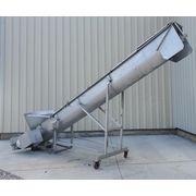 "Used 17"" dia. X 19' long MTC Stainless Sanitary Inclined Screw Auger Conveyor"