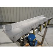 "Used 18"" Wide x 8' Long Meyer Stainless Steel Vibrating Feeder Shaker Conveyor"