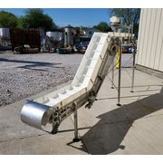 "Used 12"" Wide x 14' Long Cleated Z Sanitary Stainless Steel Conveyor Elevator"