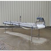 "Used 29"" Wide x 14' Long Stainless Steel Plastic Link Belt Conveyor"