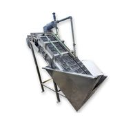 "Used 22"" Wide Cleated Inclined Stainless Steel Sanitary Spray & Wash Conveyor"