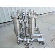 Used Stainless Steel Sanitary Basket Strainer Filter Housings [rack of four]