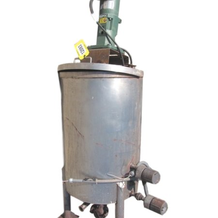 USED STAINLESS STEEL LIQUID HOLDING TANK WITH AGITATOR - 70 GALLON CAPACITY