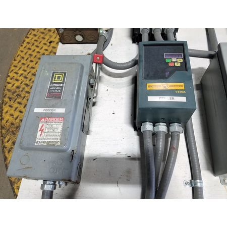 Used 1 HP Baldor VFD VS1MX41-2 with Square D Fused Disconnect