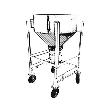 "Used 8 Cubic Foot Stainless Steel Portable Hopper w/ 10"" iris valve"