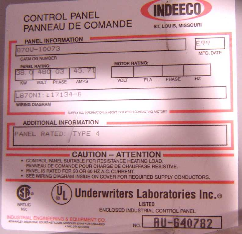 Indeeco Athena Heating Element Power Control Panel   Heat Exchangers