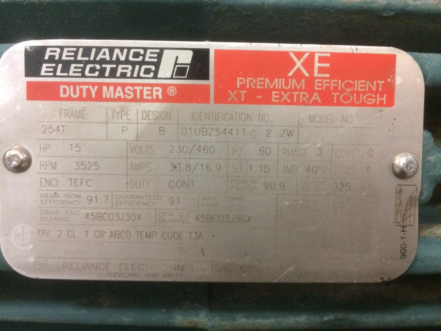 Used 15 HP Reliance premium efficient motor [3525 RPM] 230/460 volt ...