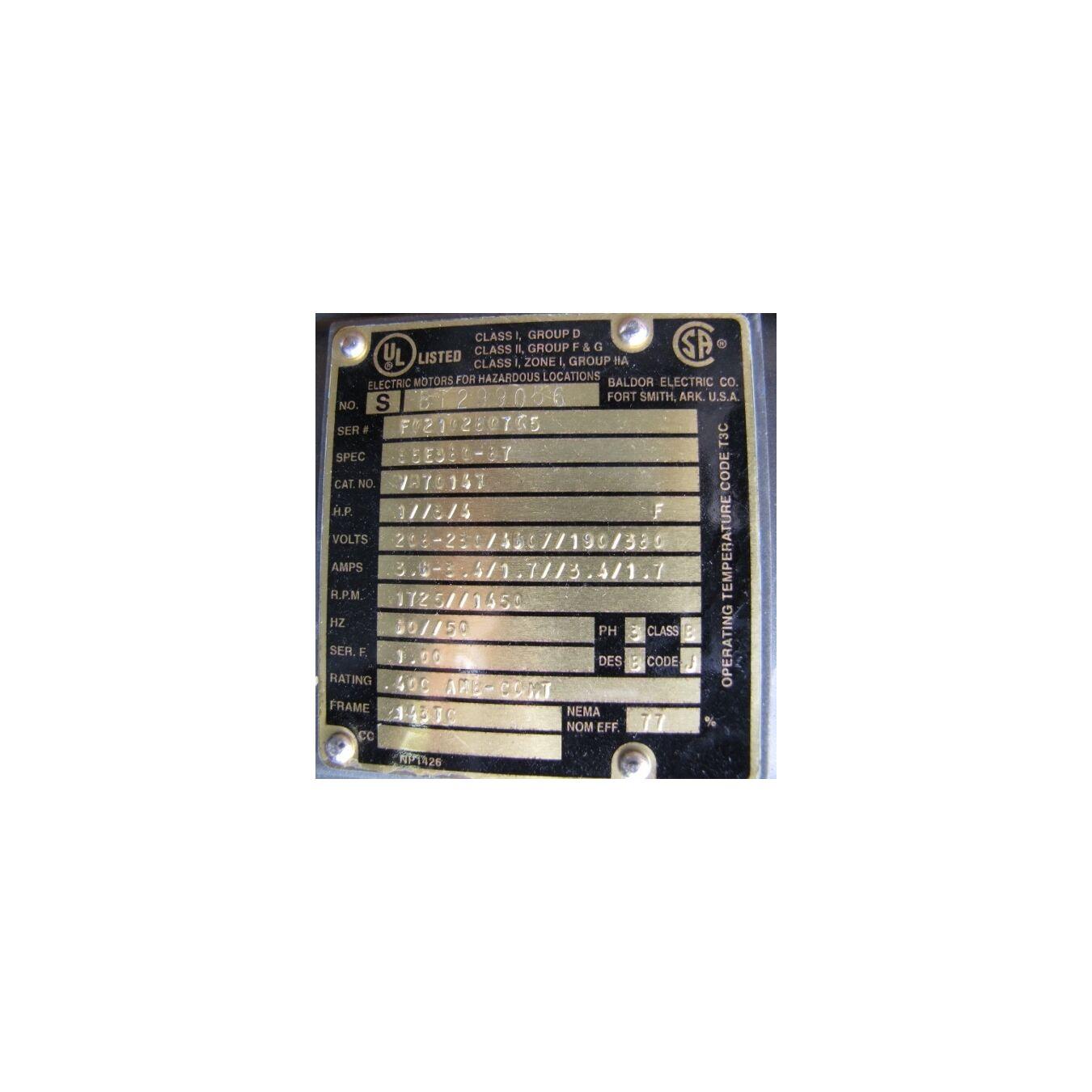 Used dcl loading spout 450cfm model un800ev10 dust for Baldor motor serial number lookup