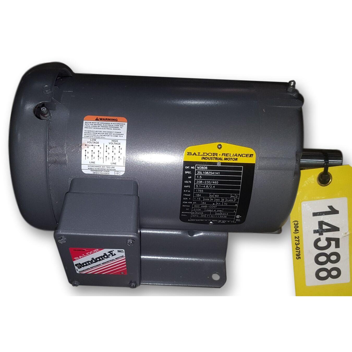 Unused 1 5 hp baldor ac motor 184 frame 1755 rpm for Baldor 1 5 hp motor