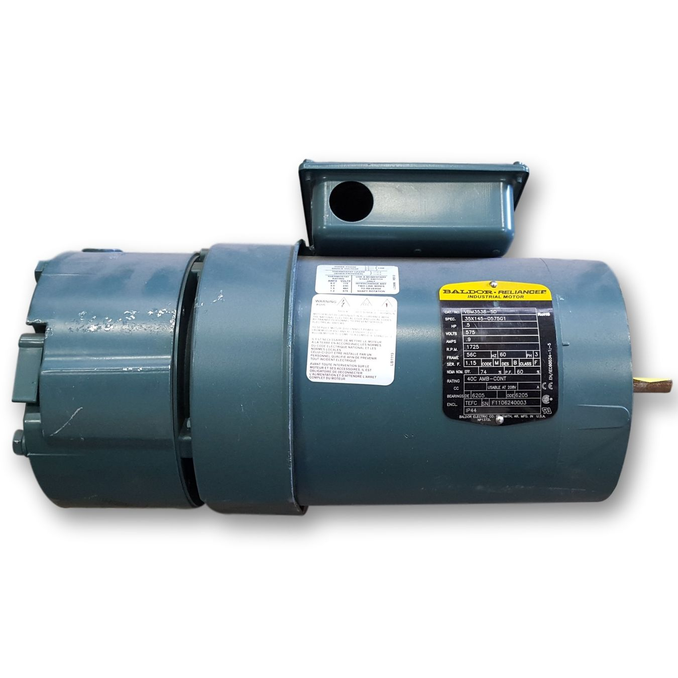 Used 1 2 hp baldor reliance industrial motor 1725 rpm for 2 hp motor current