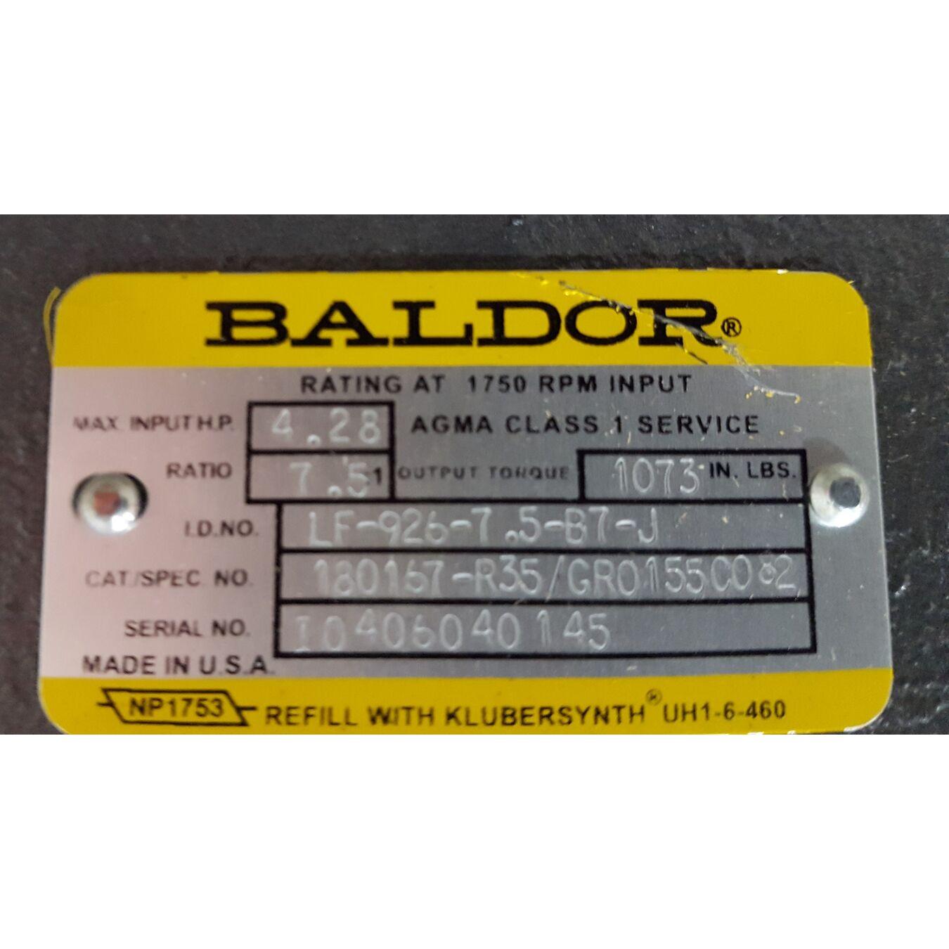 Used 2hp baldor gear motor motors drives for Baldor motor serial number lookup