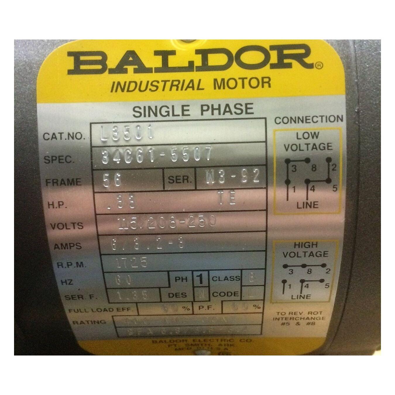 Unused 1/3 HP Baldor Industrial AC Single phase Motor 56 frame [1725 RPM]