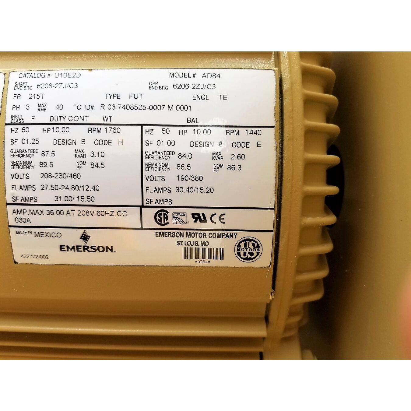 10 HP Gardner Denver Sutorbilt Mac 5MR Pressure Blower Pkg Model GAEMCRA0190